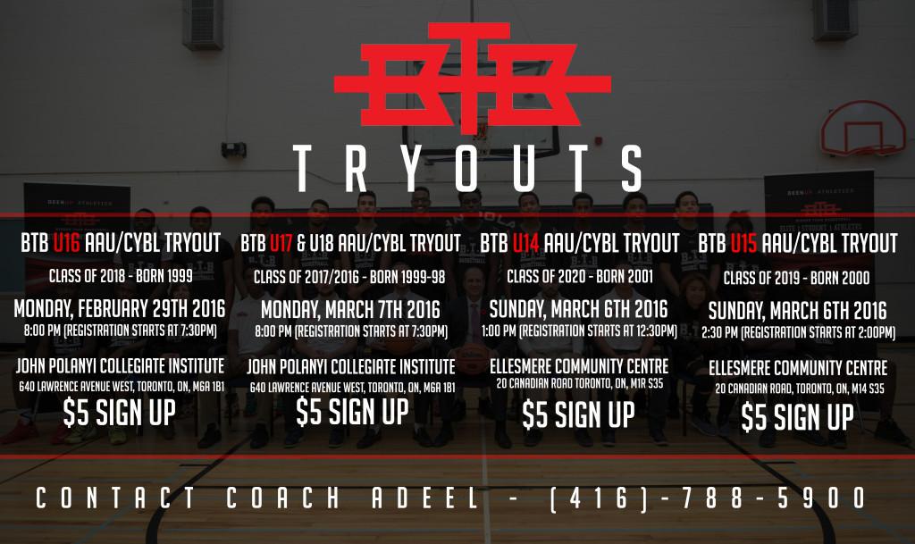 BTB Club CYBL/AAU Tryouts February 29th, March 6th & 7th from U14 to U18