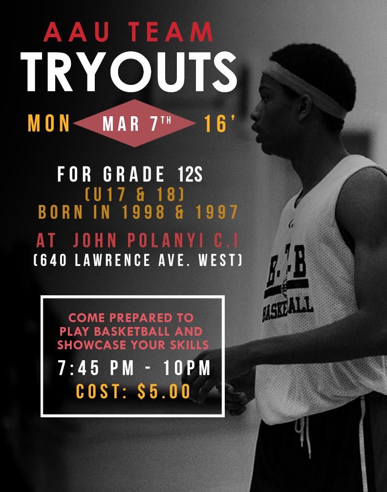 BTB U17 & U18 Boys AAU/CYBL Tryouts Monday March 7th, 2016