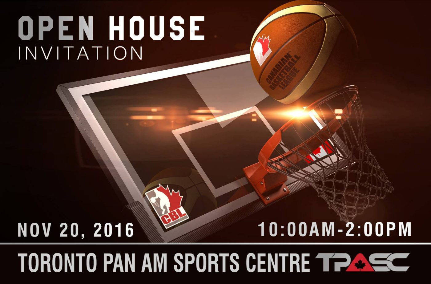 Canadian Basketball League – OPEN HOUSE EVENT Sunday Nov 20th, 2016