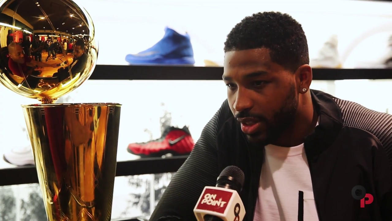 Cavs Tristan Thompson visits House of Hoops with Larry O'Brien Trophy