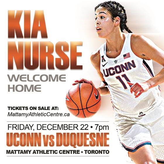 Kia Nurse's homecoming game, UCONN vs. Duquesne at the Mattamy, Friday December 22nd, 2017