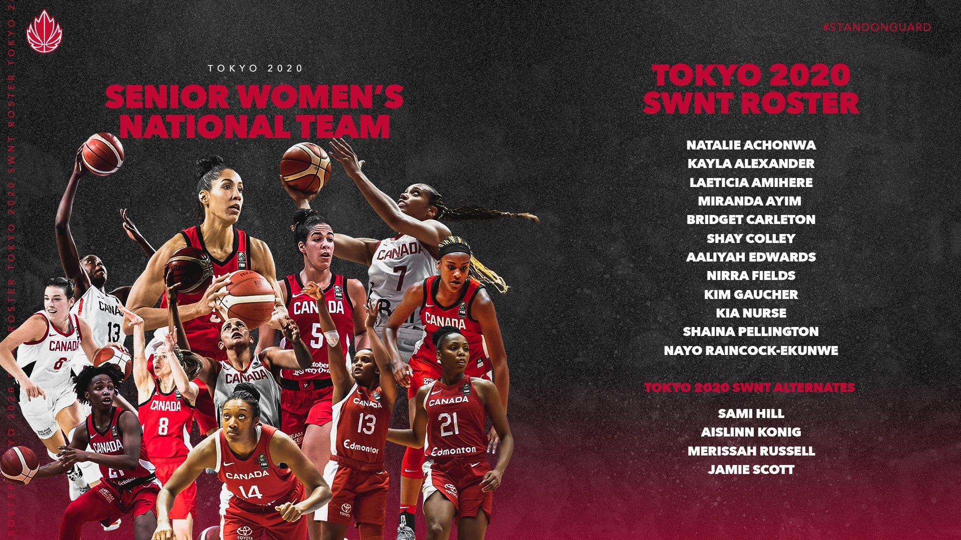 Canada's Tokyo 2020 Women's Basketball Team Announced